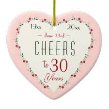 30 wedding anniversary 30th wedding anniversary ornaments keepsake ornaments zazzle