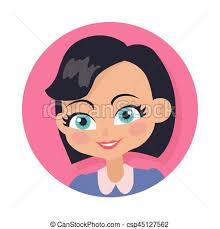 drawing of bob hair smiling girl with bob haircut isolated portrait smiling clip