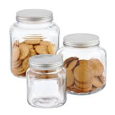 Large Kitchen Canisters Glass Jars With Lids Anchor Hocking Glass Cracker Jars With