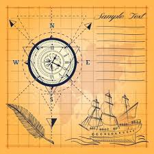 compass background ancient map handdrawn ship sketch vectors stock