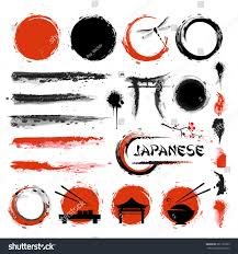 japanese style traditional japanese style set brushes other stock vector