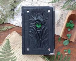 Decorative Journals Elegant Dark Grimoire Black Leather Green Eye Necronomicon With