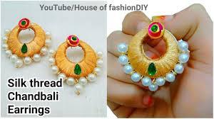 diy how to make designer silk thread chandbali earrings at home