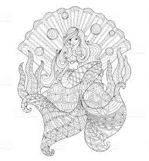 hand drawn princess mermaid in the seashell for coloring