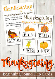 printable thanksgiving beginning sound clip cards from abcs to acts