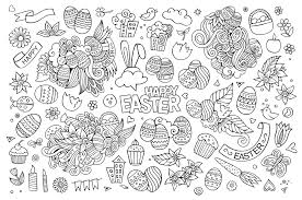 simple easter doodle olga kostenko easter coloring pages