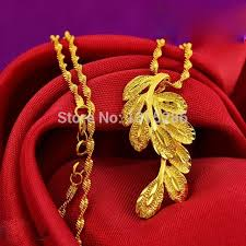 womens gold pendant necklace images Peacock feather pendant necklace chain women 39 s solid 24k yellow jpg