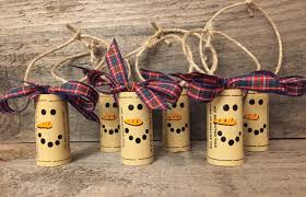 christmas cork ornaments set of 6 snowman ornaments