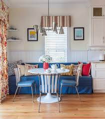 breakfast nook dining room transitional with blue banquette white