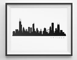 Chicago Map Wall Art by Chicago Skyline Black And White Silhouette Plus Vector Clipart