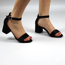 black velvet ankle strap block heels open toe velvet sandals