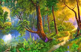 forests forest path colorful paintings sidewalk love seasons