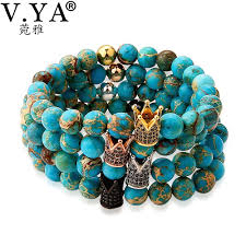 bead bracelet with charm images V ya unique blue beads bracelet men 39 s watch bracelet crown charm jpg