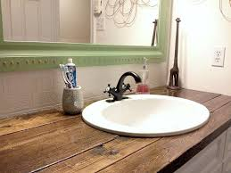 cheap bathroom countertop ideas rustic wood vanity diy wood counter top bathroom makeover