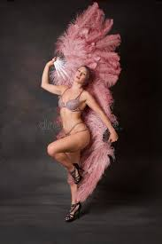 burlesque fans burlesque dancer with feather fans stock image image of