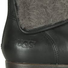 womens black leather boots australia ugg black grey inez s shearling cuff boot at larizia