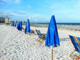 Flag Clearwater Blue Beach Umbrellas On Clearwater Beach Fl In Morning Stock Photo