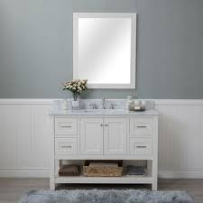4 Bathroom Vanity White Shaker 48 Bathroom Vanity 2 Drawers 2 Sinks Open Shelf W