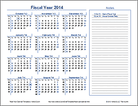 fiscal year calendar template for 2014 and beyond