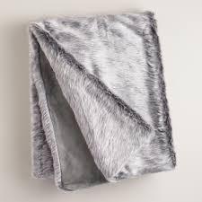 Faux Fur Throw Grey Gray Faux Fur Throw World Market
