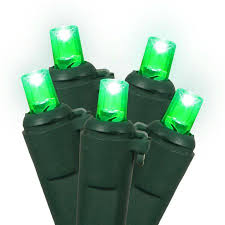 set of 60 green led wide angle lights green wire