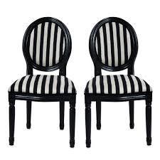 furniture black wooden dining chair with round back and striped