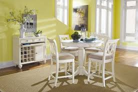 american drew camden 5 pc counter height round dining set in white