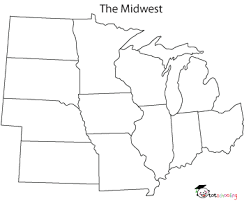 blank map of united states midwest region