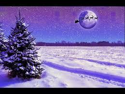 winter trees moon country snow sleigh santa