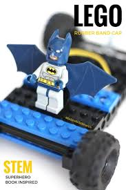 batman car lego lego rubber band car superhero stem book activity