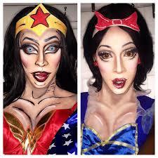 halloween cartoon makeup snow white and wonder woman makeup tutorial youtube