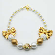 fashion bow necklace images 2015 new fashion girls gold bow necklace kids handmade gold white jpg