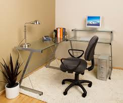 glass office desk corner with z iron bases completed by black