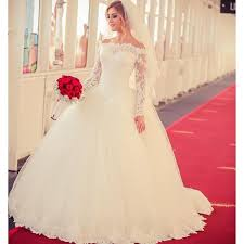 aliexpress com buy full sleeve white ball gown wedding dress
