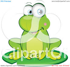 cute cartoon frogs on lily pads