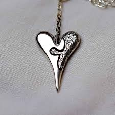 silver pendant heart necklace images Jigsaw heart solid sterling silver pendant edgy metal jpg
