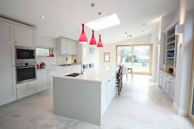 bathroom modern kitchen design with red pendant lighting and