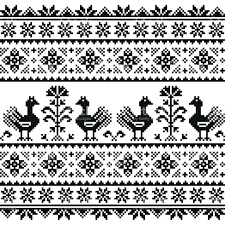 ukraine pattern vector ukrainian or belarusian slavic folk art knitted black pattern stock