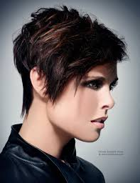 short razor textured haircut with elongated lines side view