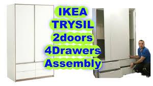 ikea wardrobes ikea wardrobe trysil sliding doors 4 drawers assembly youtube
