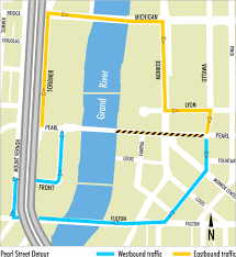 Grand Rapids Michigan Map by Pearl Street Closed Downtown For Resurfacing Mlive Com