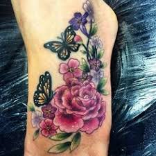 Flower Butterfly Tattoos 01 Colourful Girly Butterflies Flowers And Vines Colour