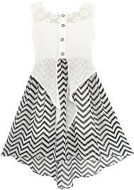 amazon com sunny fashion girls dress lace to chiffon striped