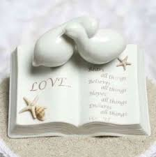 dove cake topper verse bible with doves and starfish accents wedding