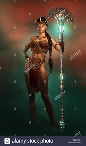 amazon warrior 3d computer graphics of a portrait of a female amazon warrior with