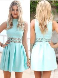 buy a line high neck mint green polyester homecoming dress with