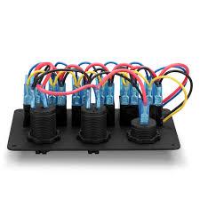 6 gang 12v 24v rocker switch panel control marine boat voltmeter
