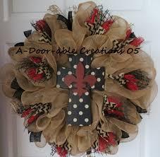 fleur de lis cross burlap deco mesh wreath 89 00 via etsy