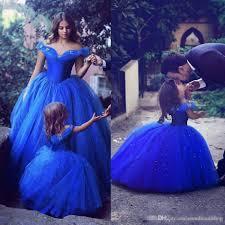 adorable cinderella flower dresses royal blue kids pageant