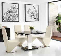 enzo dining set with 6 rita ivory chairs modern furniture direct